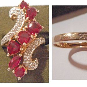 SUZANNE SOMERS Gold Vermeil Faux Ruby/Diamond Ring